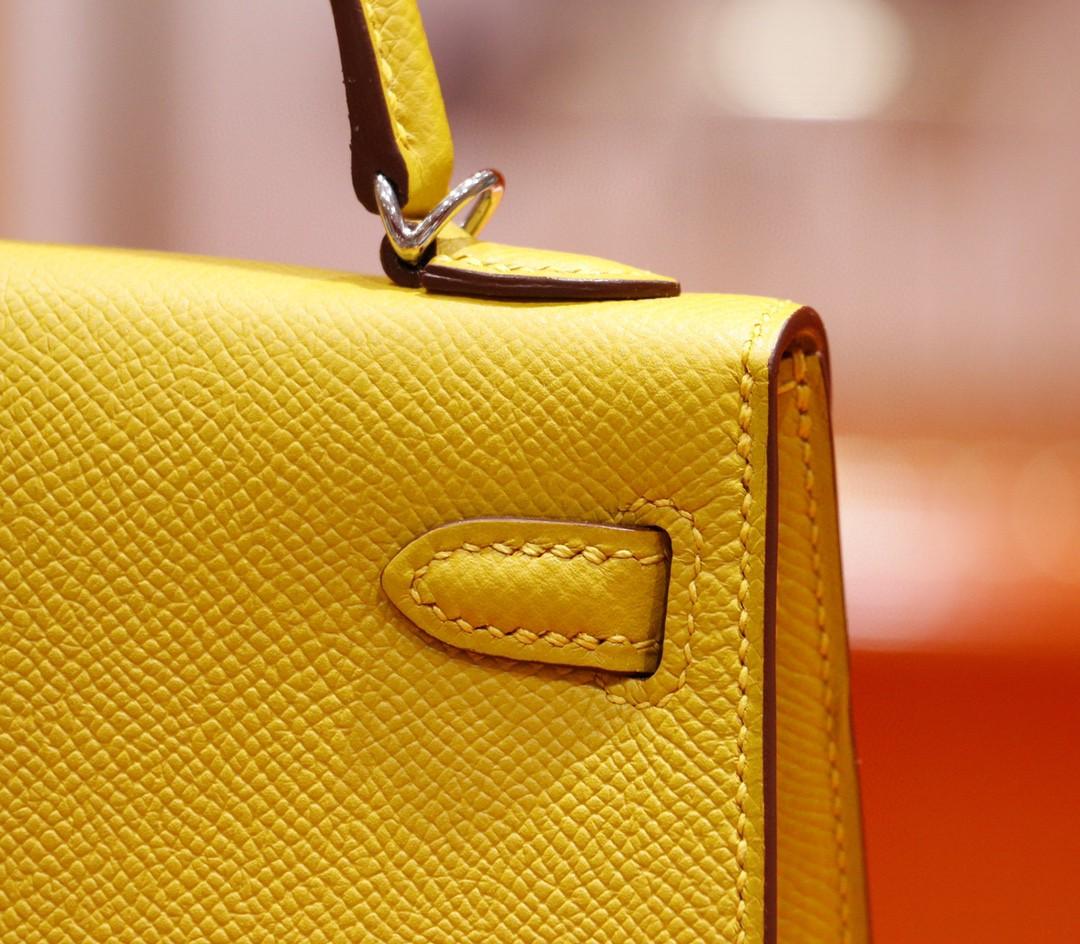 Hermès(爱马仕)Minikelly 2代 琥珀黄 Epsom 全手缝 小牛皮 银扣