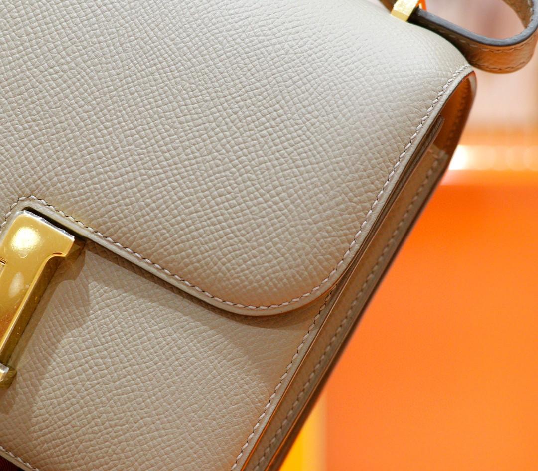 Hermès(爱马仕)Constance 空姐包 沥青灰 Epsom 全手缝 小牛皮 金扣 19cm
