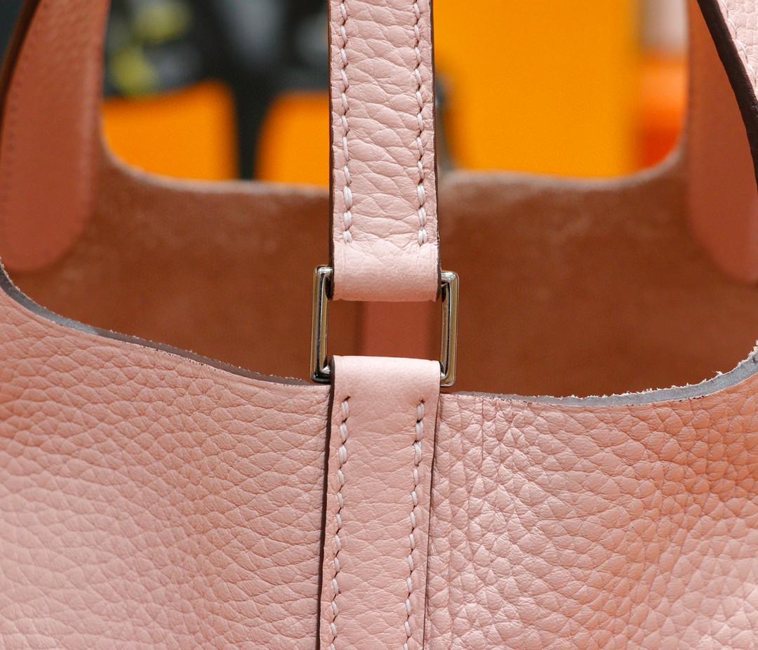 Hermès(爱马仕)Picotin 菜篮子 奶昔粉 全手缝 银扣 18cm