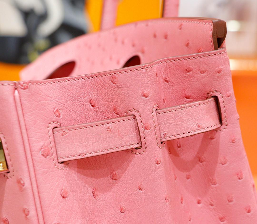 Hermès(爱马仕)Birkin 铂金包 陶瓷粉 南非鸵鸟皮 全手缝 金扣 30cm