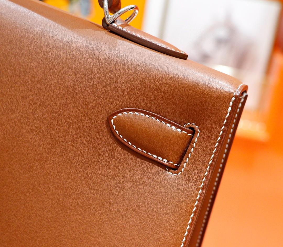 Hermès(爱马仕)Kelly 凯莉包 金棕 全手缝 马鞍皮 银扣 40cm