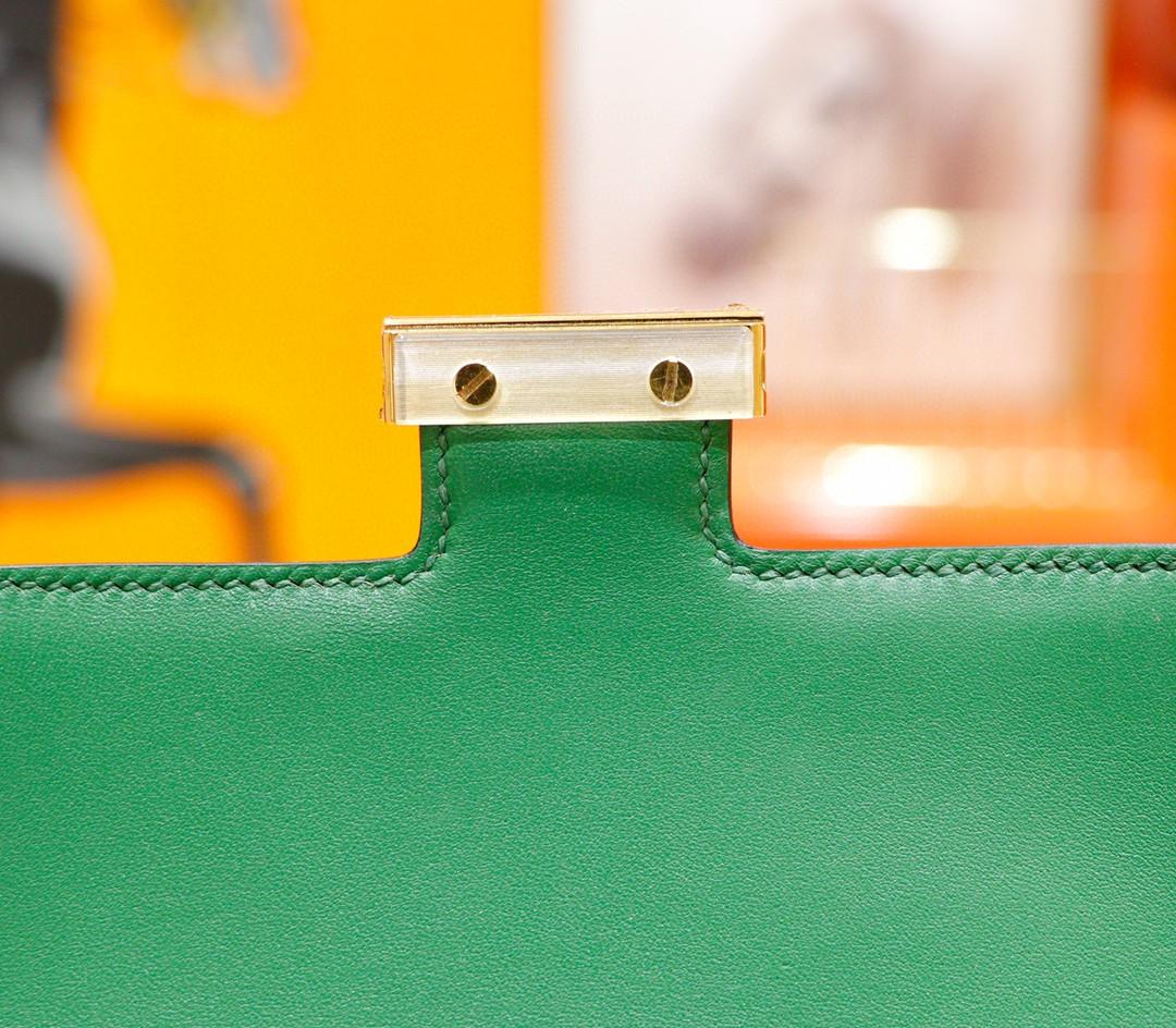 Hermès(爱马仕)Constance 空姐包 丝绒绿 Epsom 全手缝 小牛皮 金扣 19cm