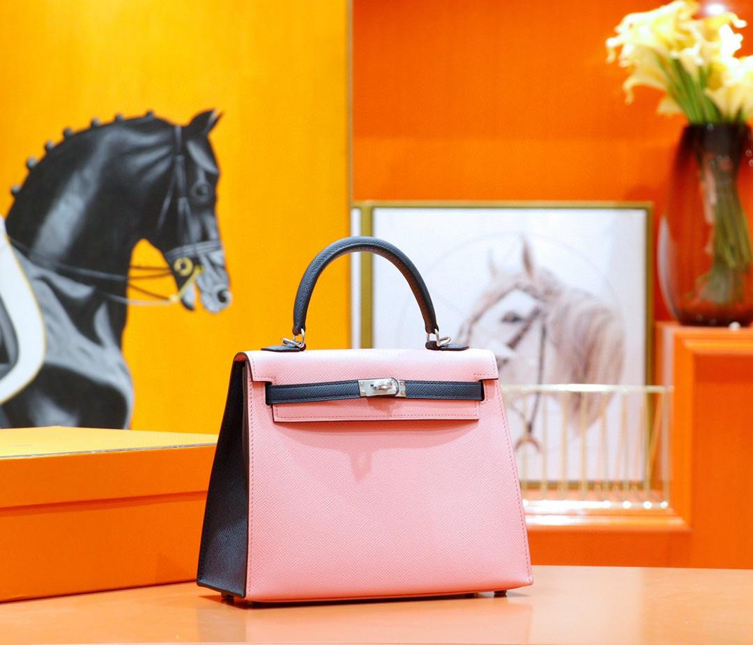Hermès(爱马仕)Kelly 凯莉包 樱花粉拼午夜蓝 Epsom 全手缝 银扣 25cm