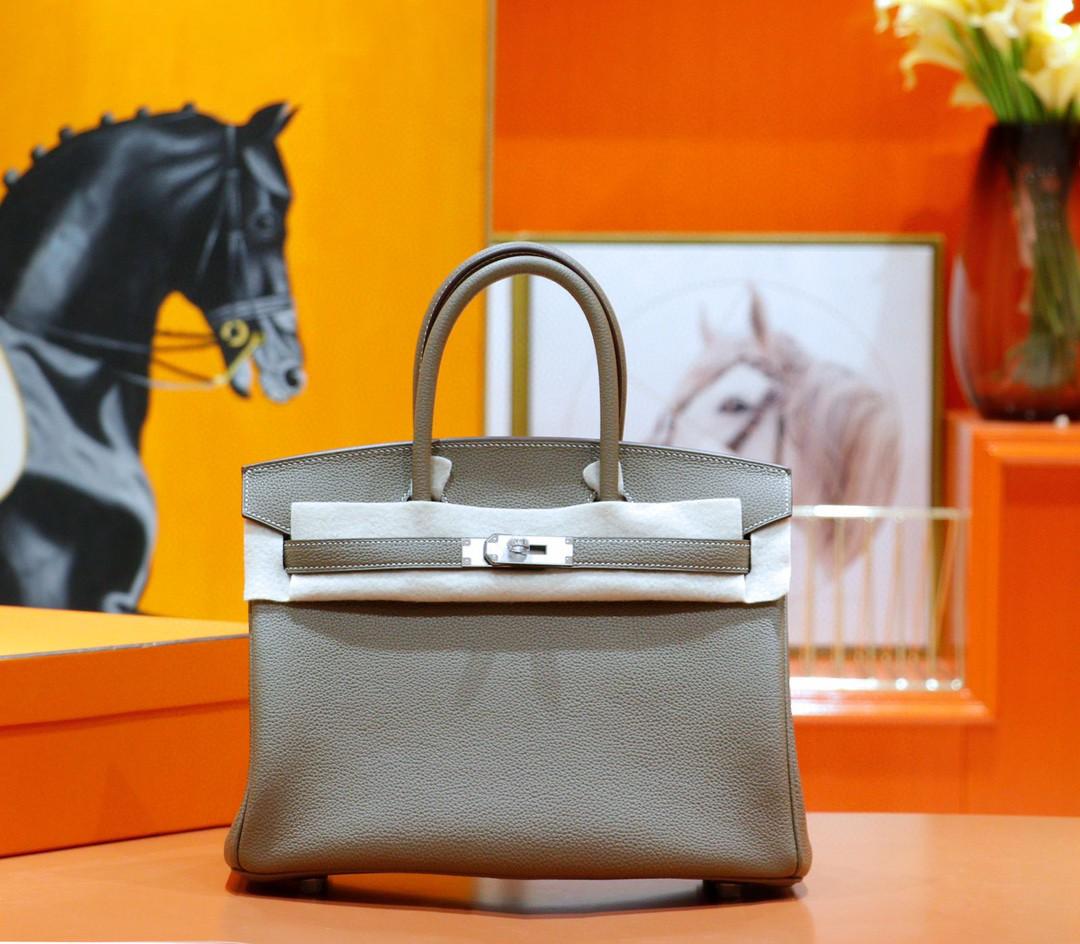 Hermès(爱马仕)Birkin 铂金包 大象灰 Togo 小牛皮 全手缝 银扣 30cm