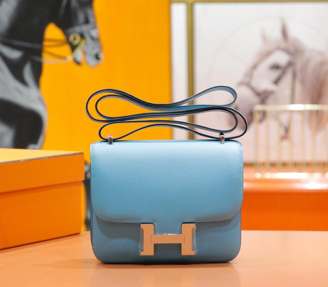 Hermès(爱马仕)Constance 空姐包 牛仔蓝 Epsom 全手缝 小牛皮 银扣 19cm