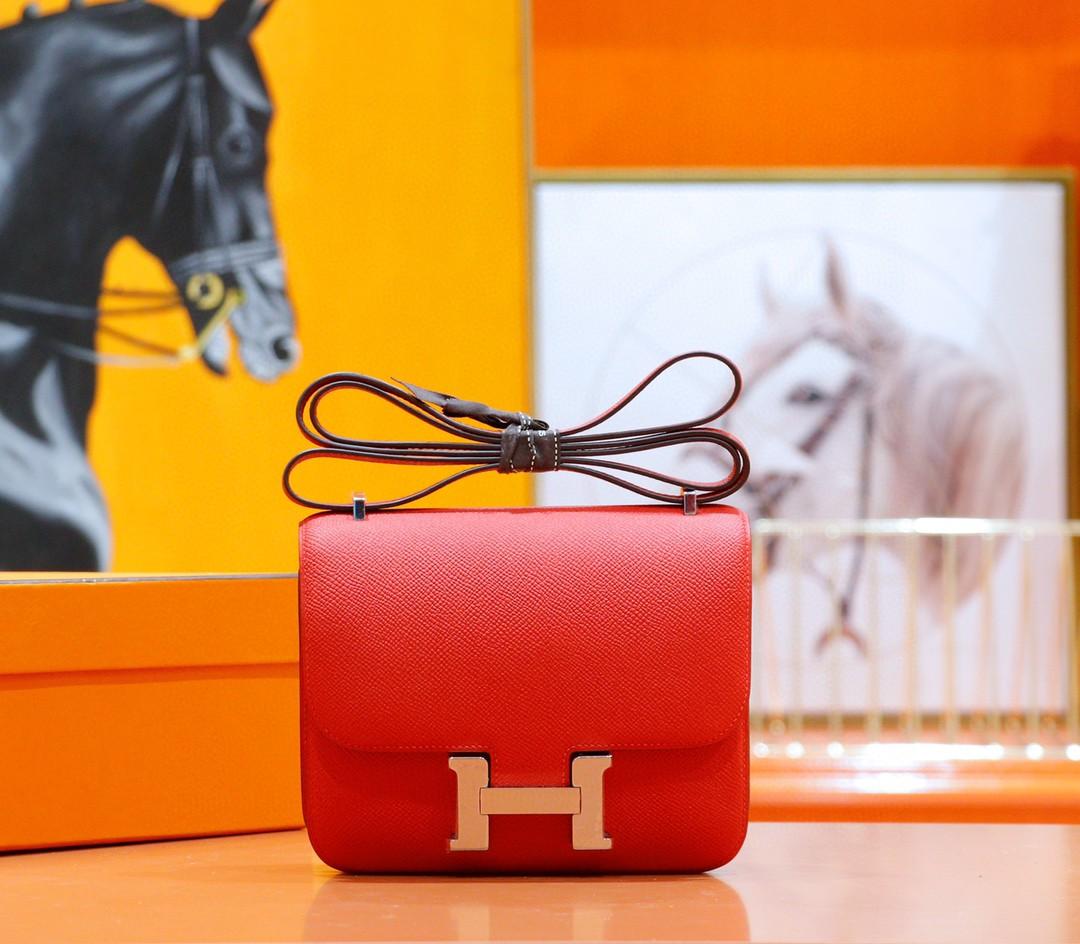 Hermès(爱马仕)Constance 空姐包 国旗红 Epsom 全手缝 小牛皮 金扣 19cm