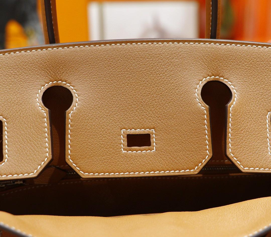 Hermès(爱马仕)Birkin 铂金包 金棕 Evercolor 全手缝 小牛皮 银扣 30cm