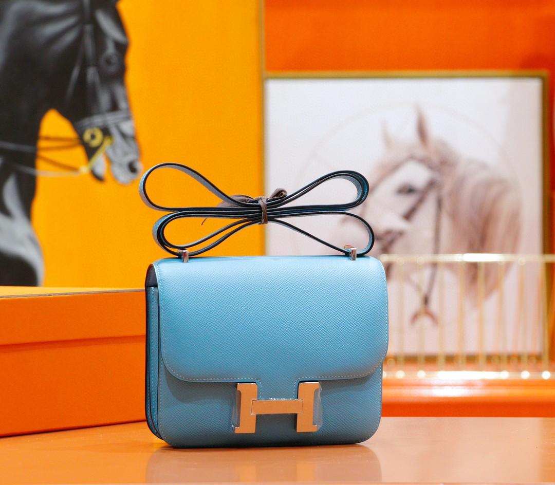 Hermès(爱马仕)Constance 空姐包 北方蓝 Epsom 全手缝 小牛皮 银扣 19cm