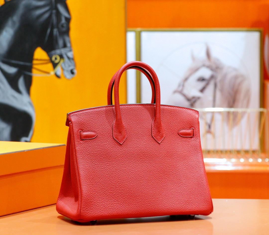 Hermès(爱马仕)Birkin 铂金包 国旗红 togo 全手缝 小牛皮 银扣 25cm