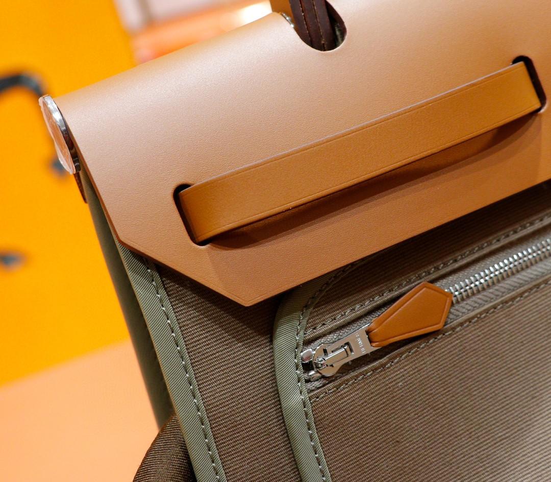 Hermès(爱马仕)Herbag 大象灰 原版帆布拼原厂皮 最高版本级别 银扣 31cm