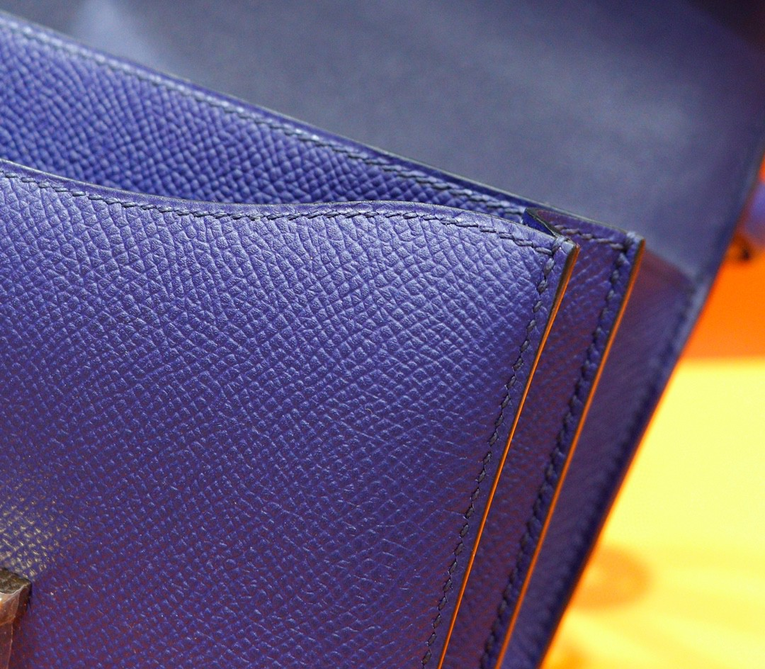 Hermès(爱马仕)Constance 空姐包 电光蓝 Epsom 全手缝 小牛皮 金扣 19cm