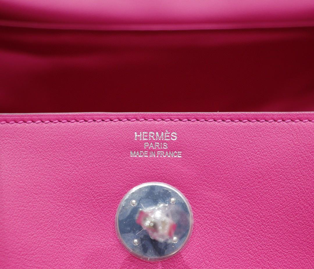 Hermès(爱马仕)Lindy 琳迪包 玫瑰紫 Swift皮 银扣 30cm 全手缝