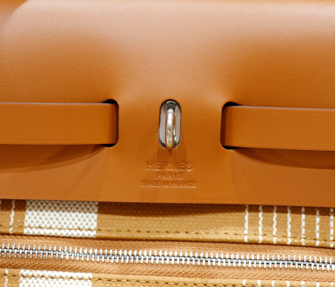 Hermès(爱马仕)Herbag 浅棕字母系列 原版帆布 拼 原厂皮 最高版本 银扣 31cm