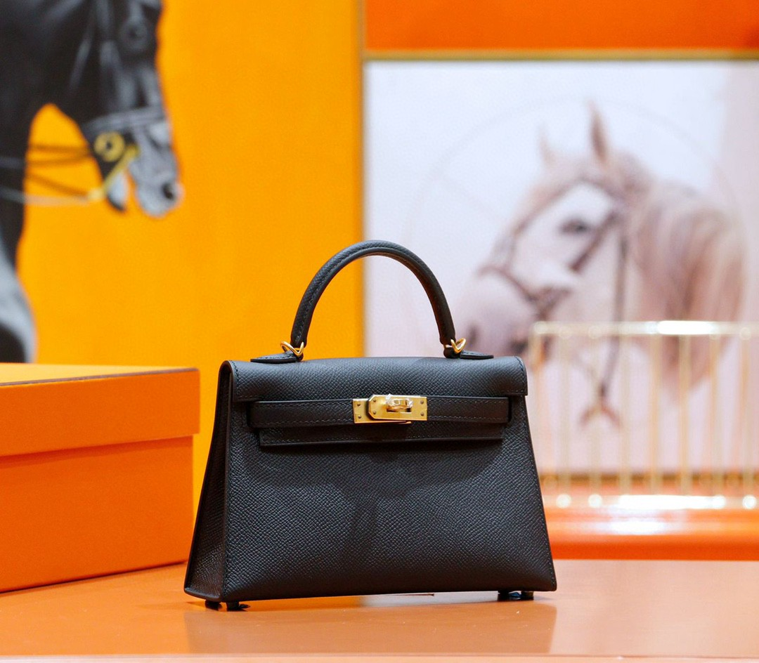 Hermès(爱马仕)Minikelly 迷你凯莉 2代 黑色 Epsom 全手缝 小牛皮 金扣