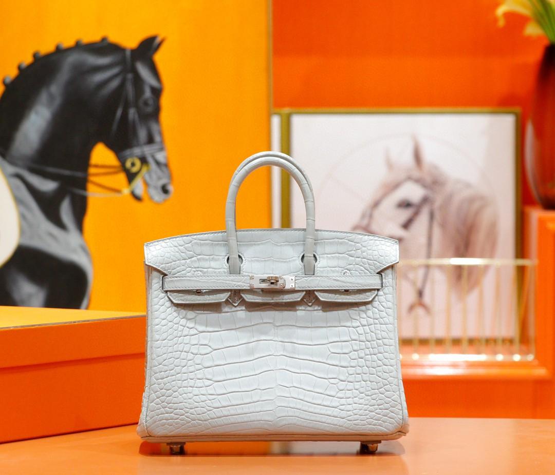 Hermès(爱马仕)Birkin 铂金包 奶油白 雾面鳄鱼皮 银扣 25cm