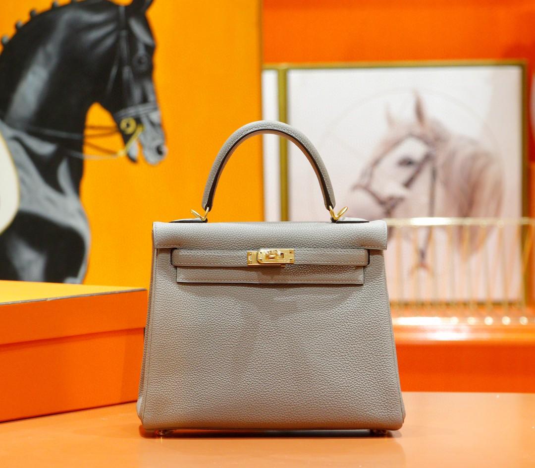 Hermès(爱马仕)Kelly 凯莉包 沥青灰 togo 全手缝 小牛皮 金扣 25cm