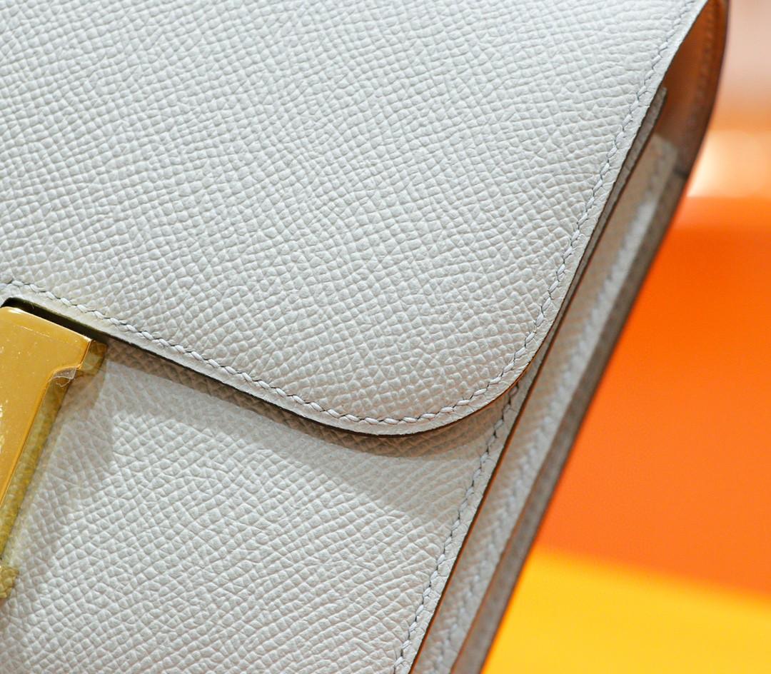 Hermès(爱马仕)Constance 空姐包 海鸥灰 Epsom 全手缝 小牛皮 金扣 19cm