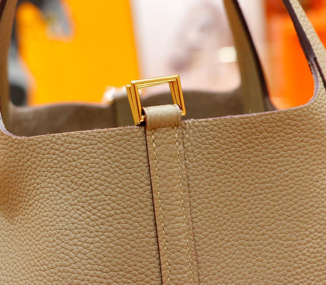 Hermès(爱马仕)Picotin 菜篮子 风衣灰 Togo 全手缝 小牛皮 金扣 22cm