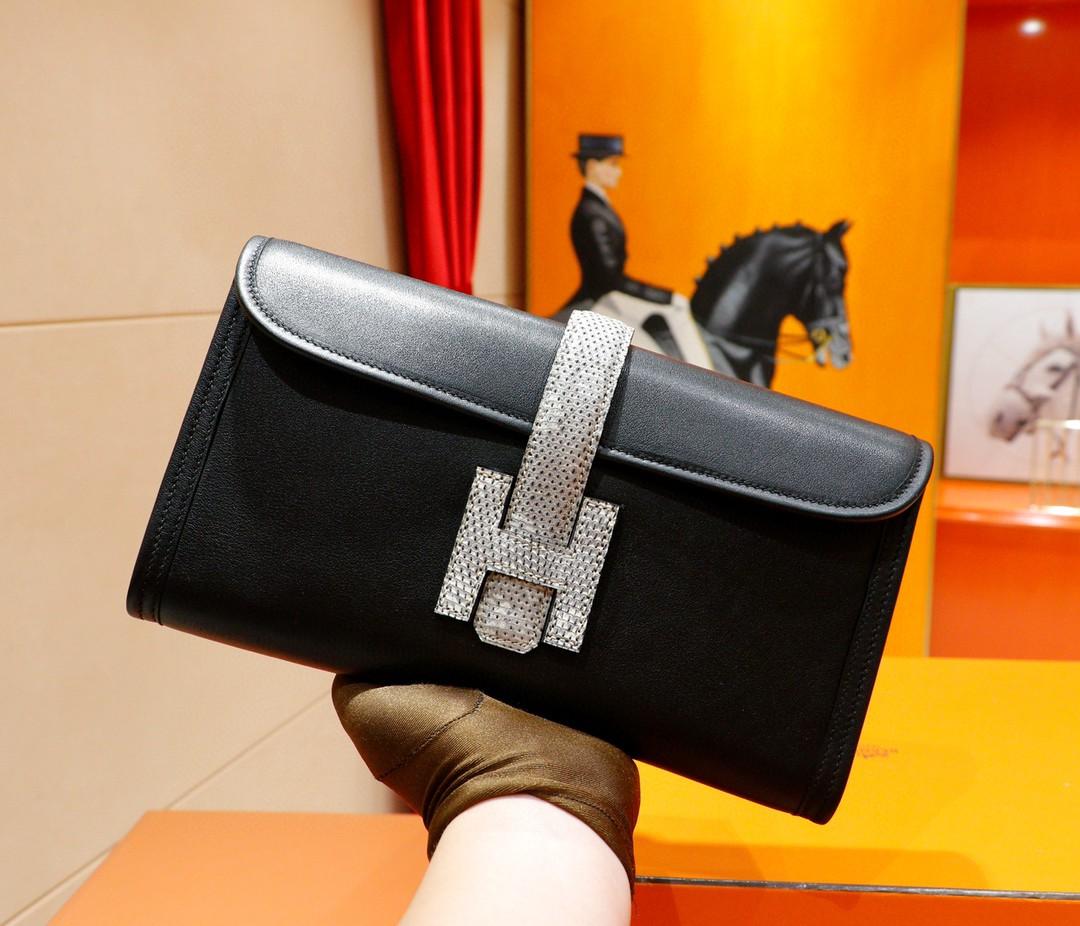 Hermès(爱马仕)Jige 手包 黑色 Swift 拼 蜥蜴皮 全手缝