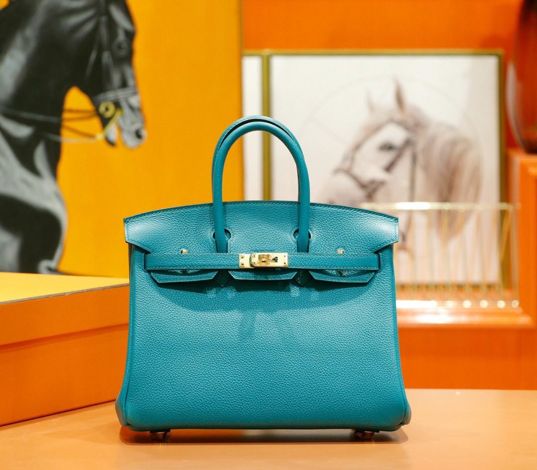 Hermès(爱马仕)Birkin 凯莉包 孔雀绿 togo 全手缝 小牛皮 金扣 25cm