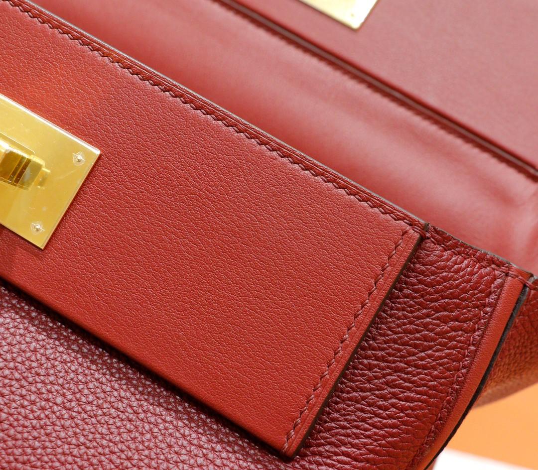 Hermès(爱马仕)H2424 酒红色 Evercolor拼Swift 全手缝小牛皮 金扣