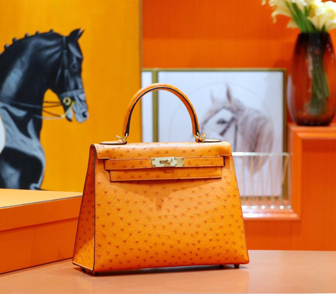 Hermès(爱马仕)Kelly 凯莉包 橙色 南非鸵鸟皮 全手缝 金扣 28cm