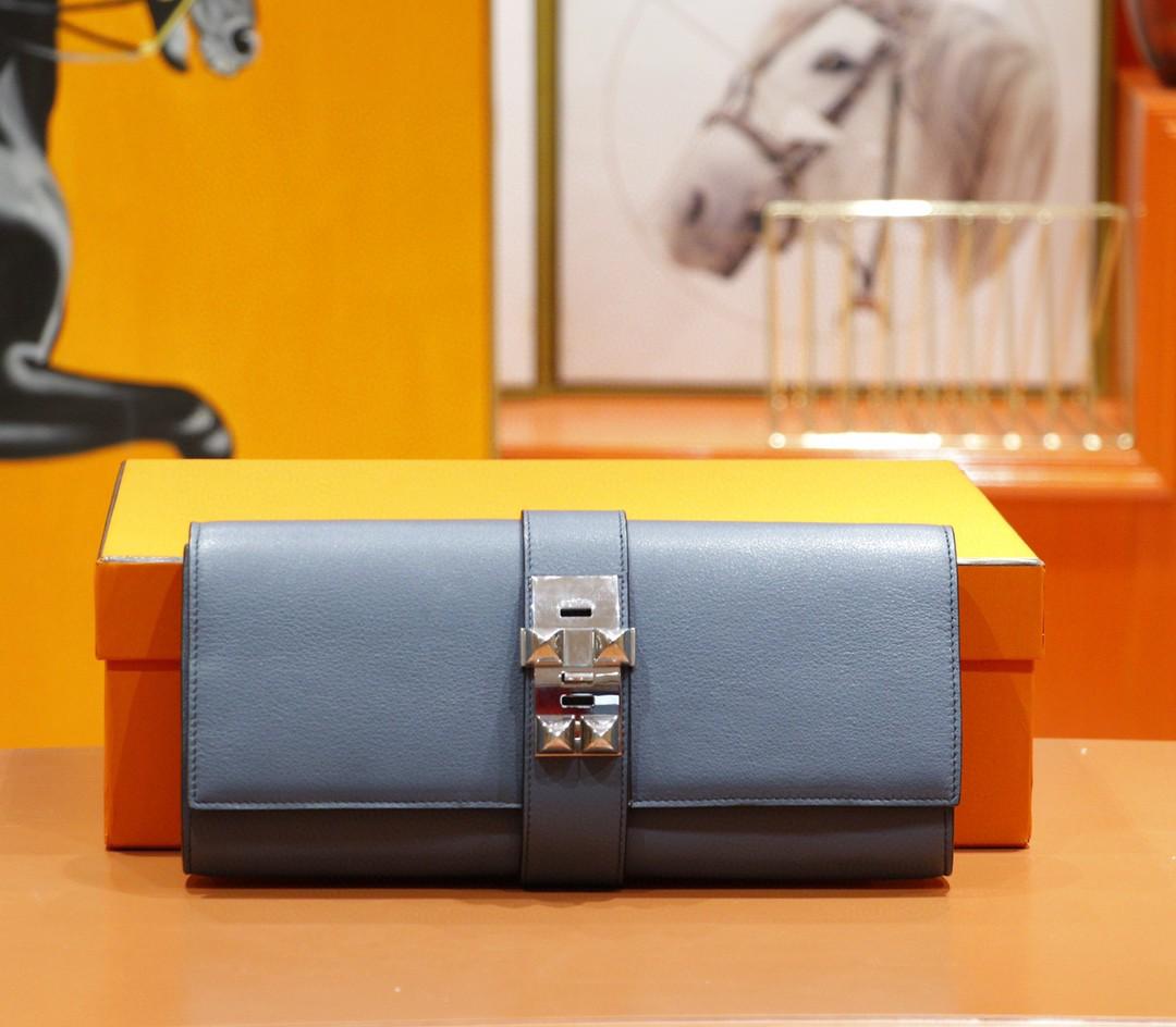 Hermès(爱马仕)手包 晚宴包 玛瑙蓝 Swift 银扣 全手缝