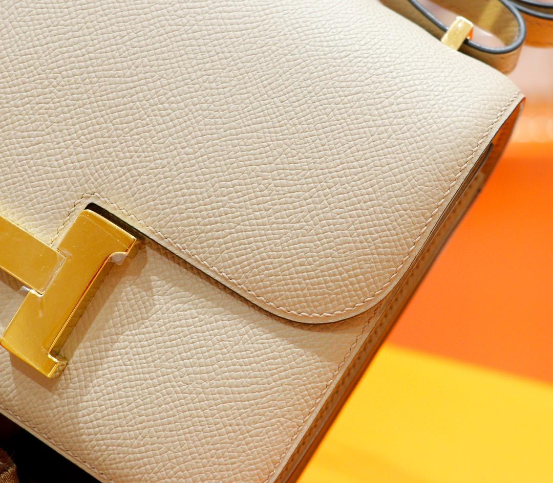 Hermès(爱马仕)Constance 空姐包 风衣灰 Epsom 全手缝 小牛皮 金扣 19cm