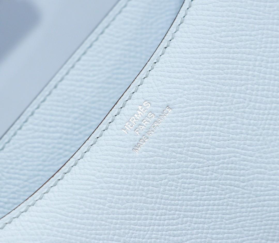 Hermès(爱马仕)Constance 空姐包 雾霾蓝 Epsom 全手缝 小牛皮 银扣 19cm