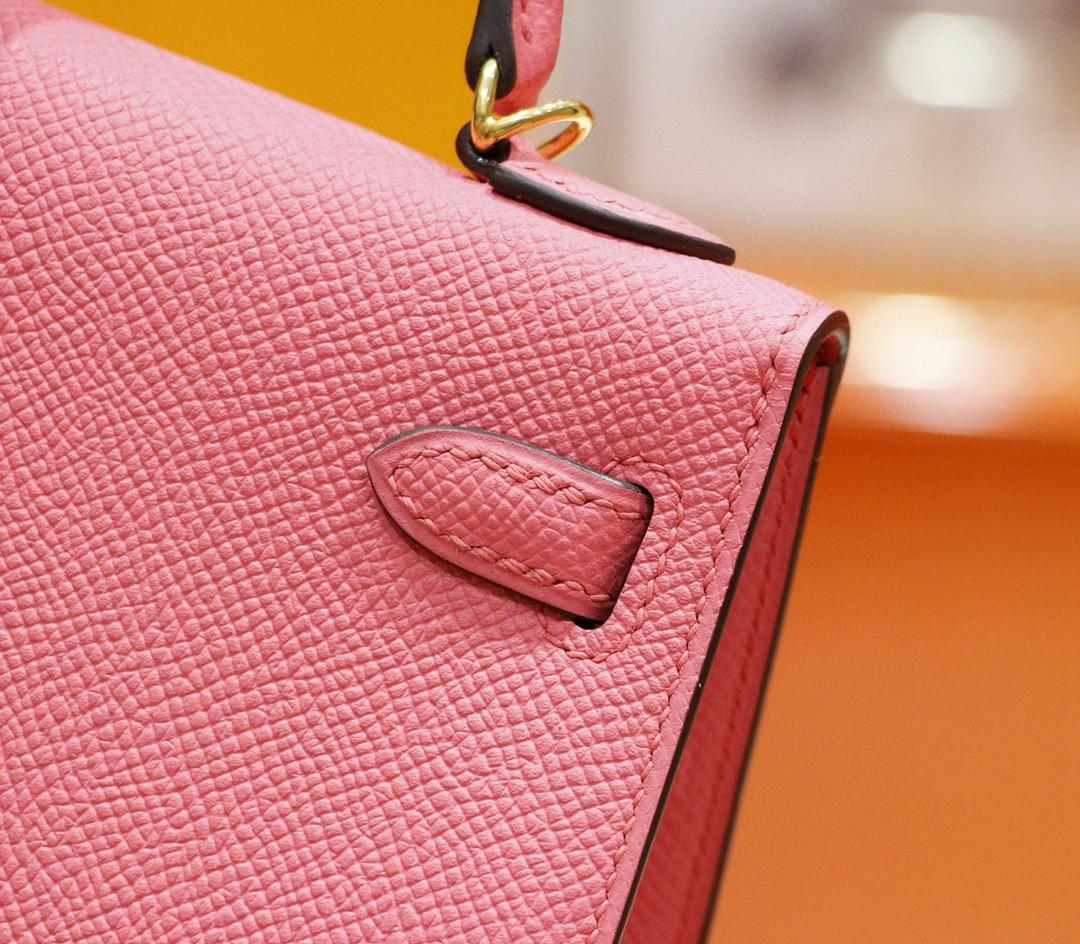 Hermès(爱马仕)Minikelly 2代 唇膏粉 Epsom 全手缝 小牛皮 金扣