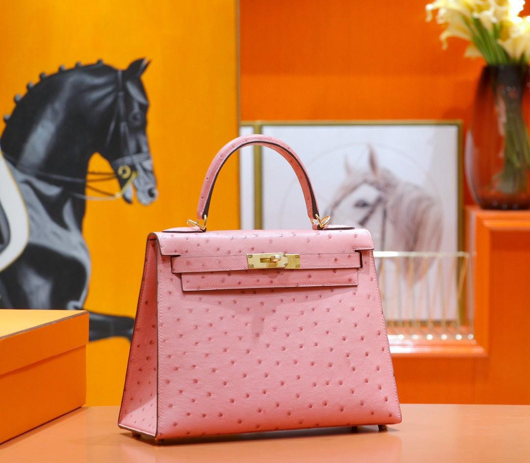 Hermès(爱马仕)Kelly 凯莉包 陶瓷粉 南非鸵鸟皮 全手缝 金扣 28cm