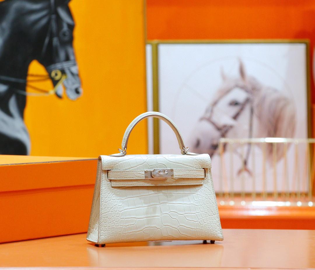 Hermès(爱马仕)Minikelly 2代 雾面鳄鱼皮 奶油白 银扣 19cm