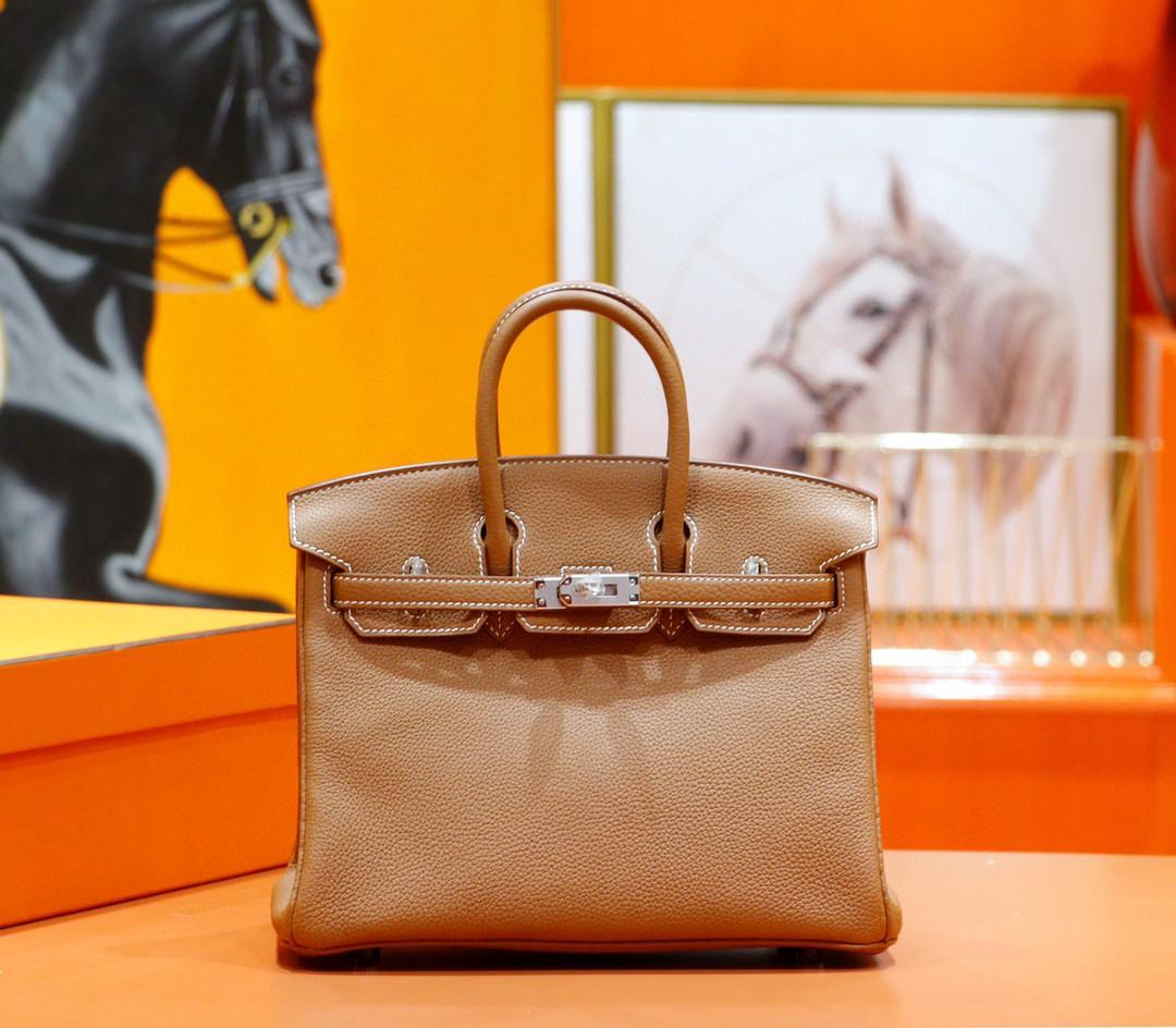 Hermès(爱马仕)Birkin 铂金包 金棕 togo 全手缝 小牛皮 银扣 25cm