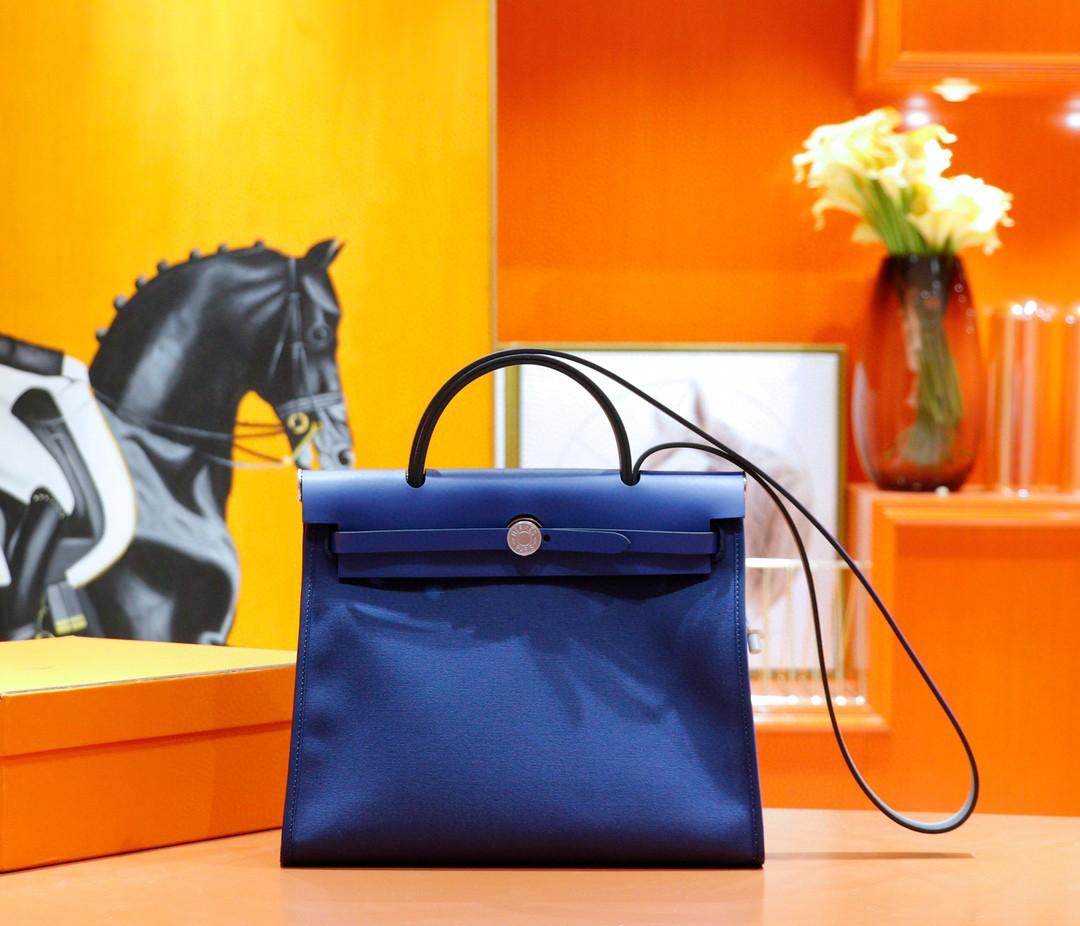 Hermès(爱马仕)Herbag 电光蓝 原版帆布拼原厂皮 最高版本 银扣 31cm
