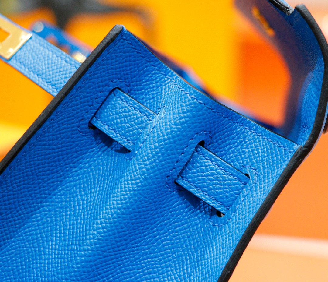 Hermès(爱马仕)Kelly 凯莉包 伊兹密尔蓝 Epsom 全手缝 金扣 25cm