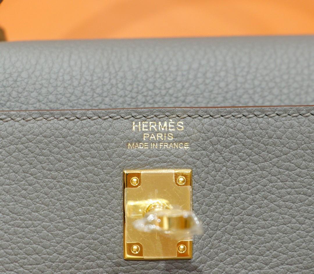 Hermès(爱马仕)Kelly 凯莉包 锡器灰 togo 全手缝 小牛皮 金扣 25cm