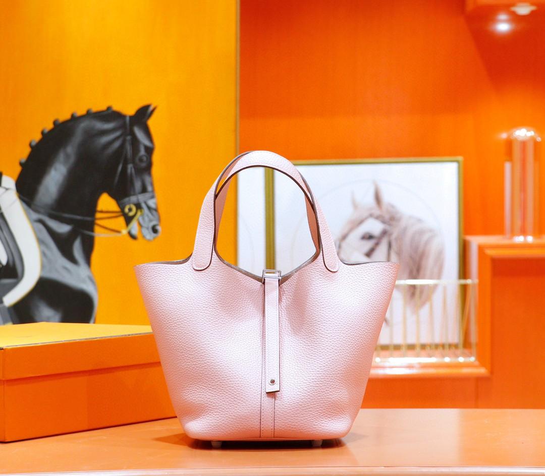 Hermès(爱马仕)Picotin 菜篮子 奶昔粉 Togo 银扣 全手缝 22cm