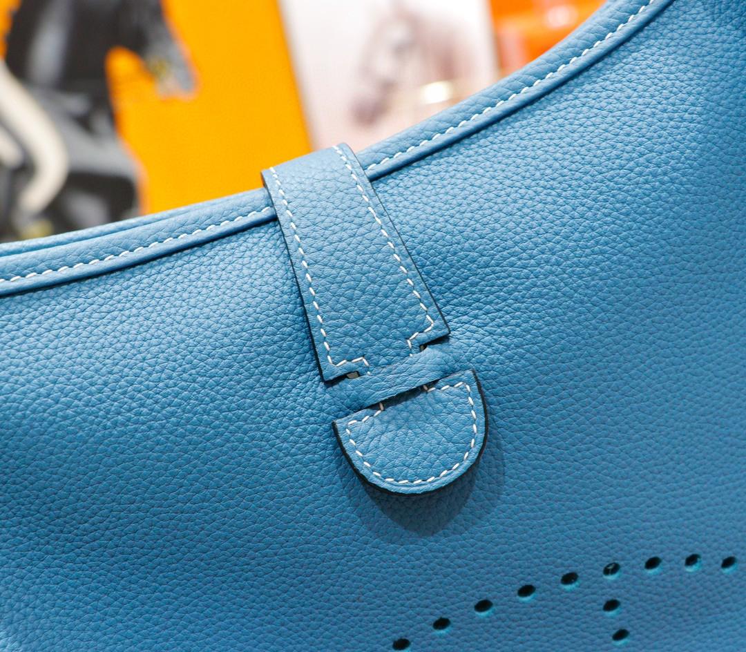 Hermès(爱马仕)Evelyne 伊芙琳 牛仔蓝 Togo 全手缝 银扣 28cm