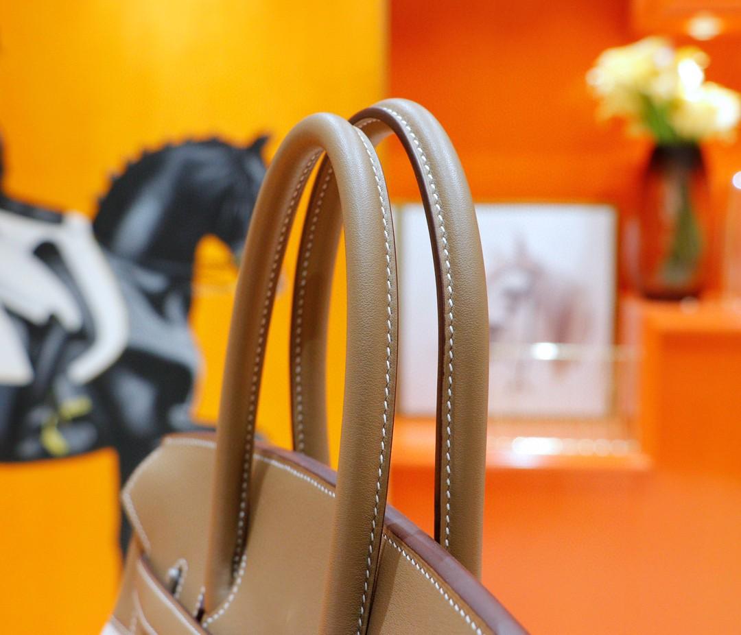 Hermès(爱马仕)Birkin 大象灰 Swift拼原版帆布 经典蕾丝款 银扣 35cm 全手缝