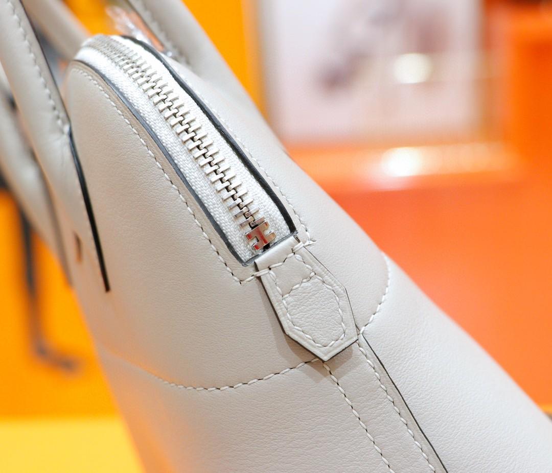Hermès(爱马仕)Bolide 保龄球包 奶昔白 Swift 全手缝 银扣 27cm