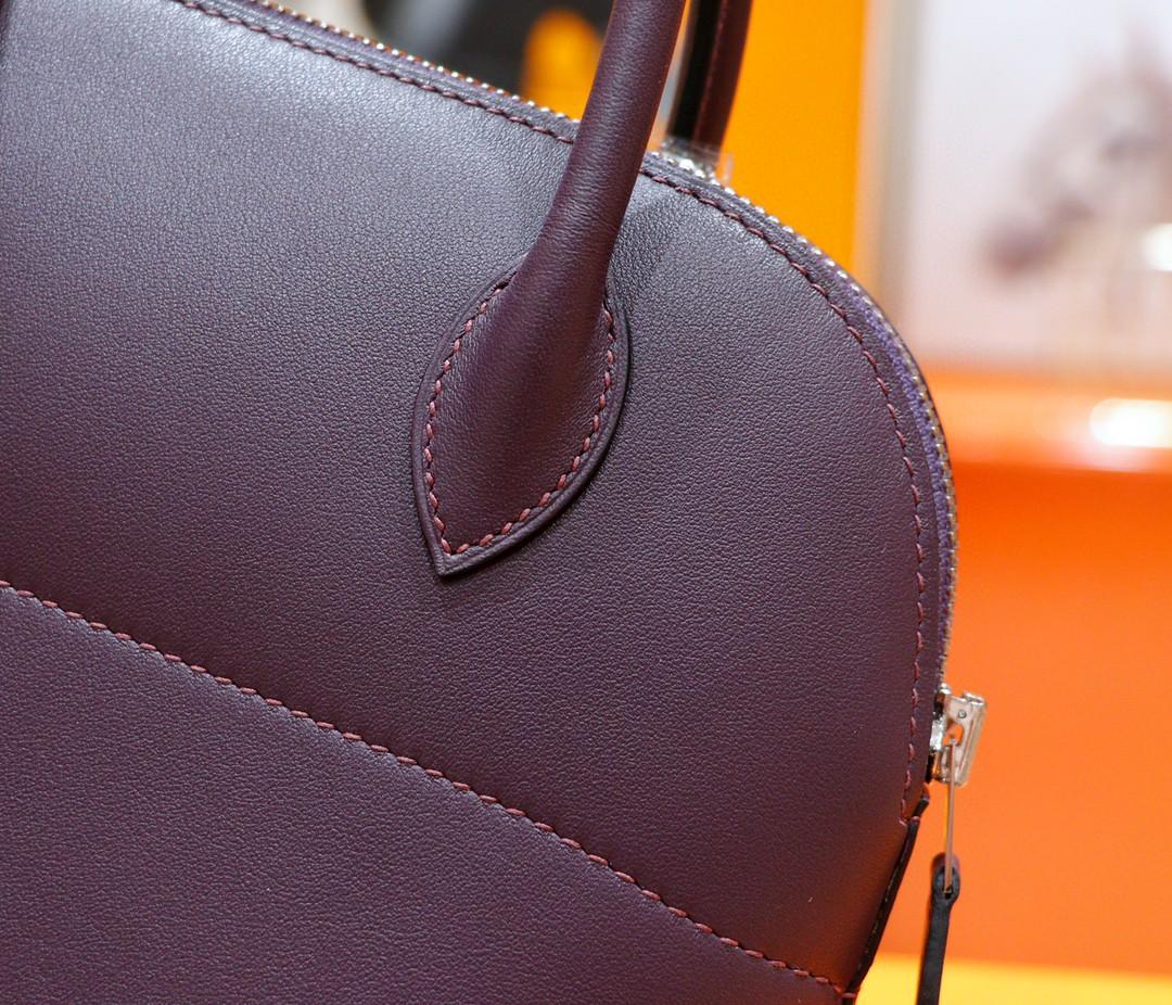 Hermès(爱马仕)Bolide 保龄球包 葡萄紫 Swift 全手缝 银扣 27cm