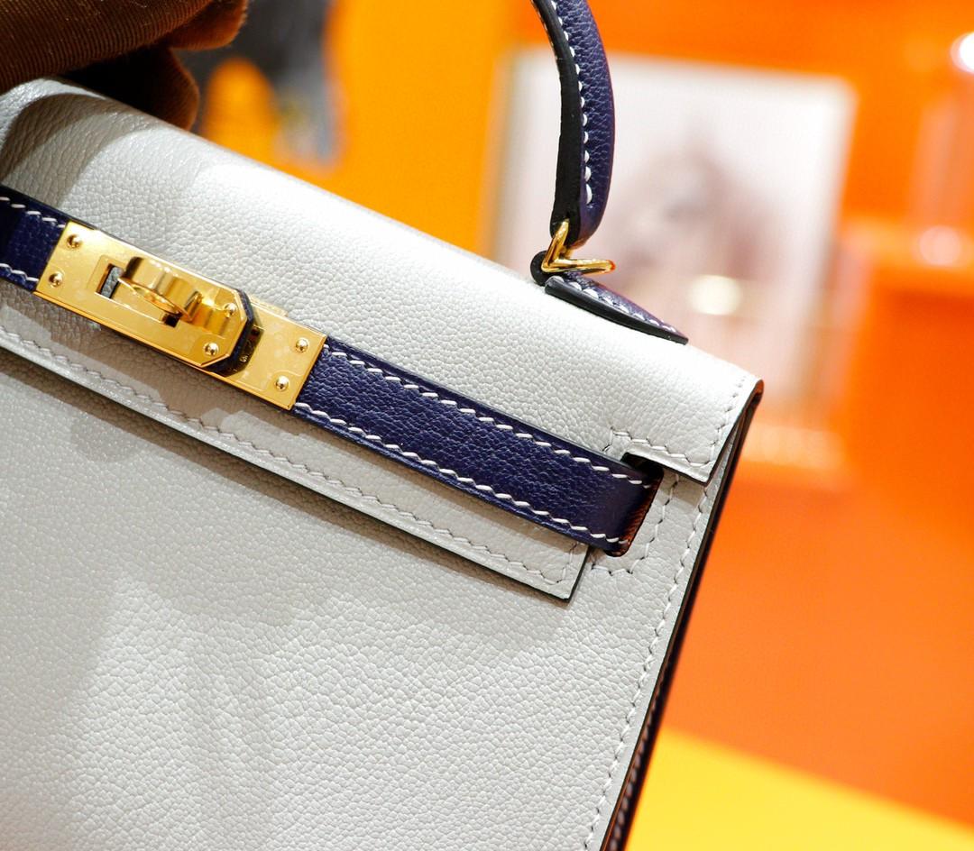 Hermès(爱马仕)Minikelly 迷你凯莉 珍珠灰拼宝石蓝 山羊皮 全手缝 金扣 2代