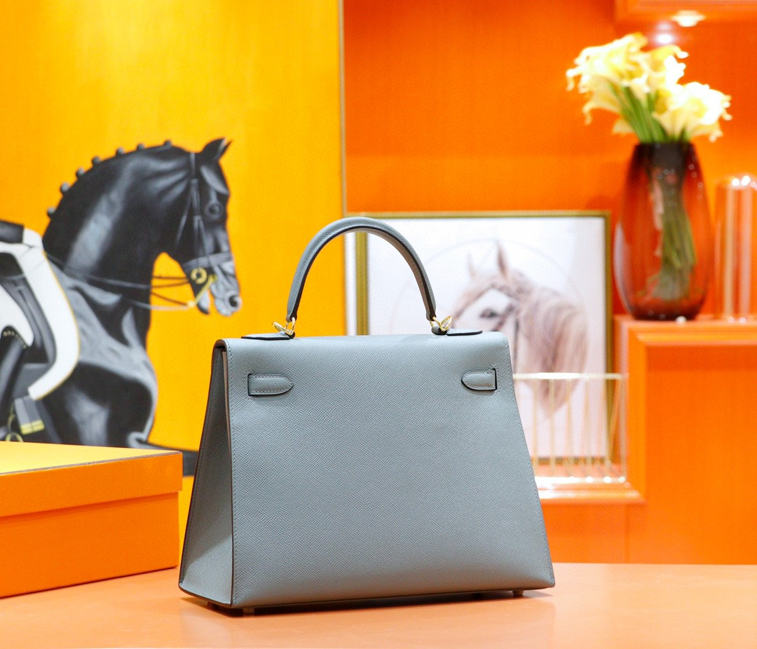 Hermès(爱马仕)Kelly 凯莉包 杏仁绿 Epsom 全手缝 金扣 32cm