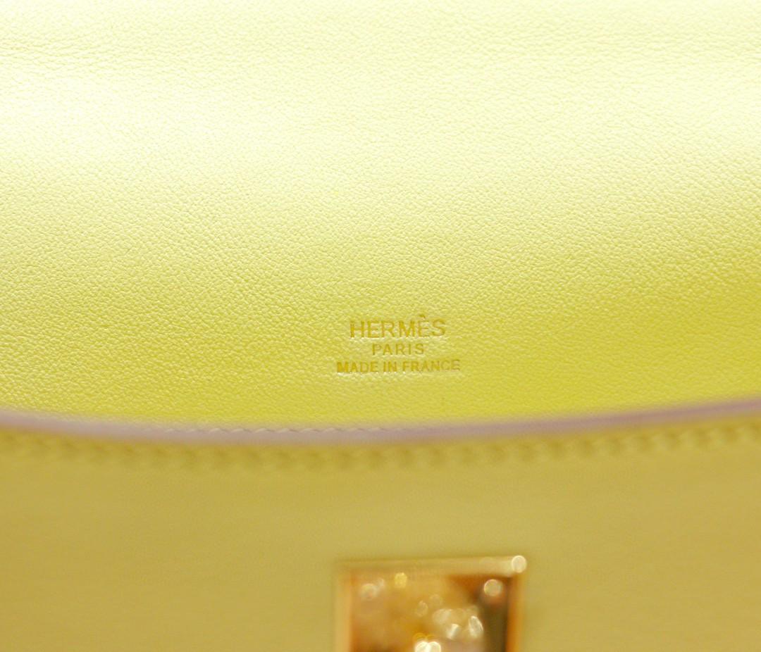 Hermès(爱马仕)Minikelly 迷你凯莉 晚宴手包 小鸡黄 Swift 金扣