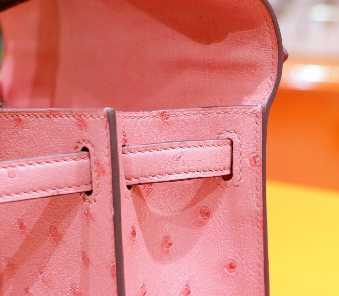 Hermès(爱马仕)Minikelly 迷你凯莉 陶瓷粉 南非鸵鸟皮 金扣 晚宴包