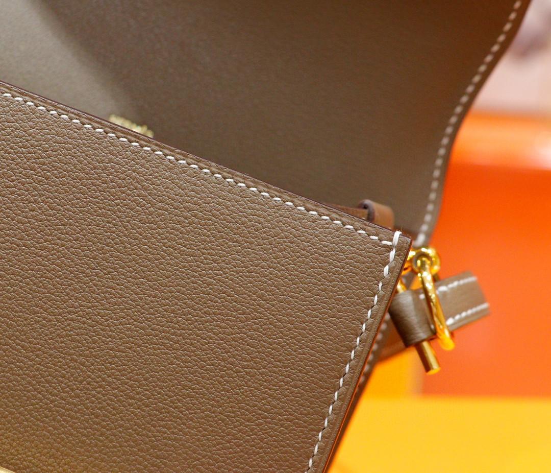 Hermès(爱马仕)Roulis 猪鼻包 19cm 大象灰 Evercolor 小牛皮 金扣 全手缝