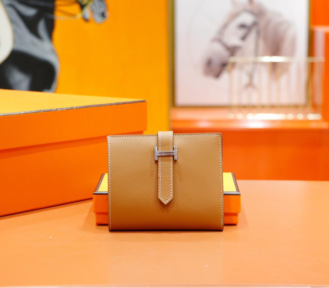 Hermès(爱马仕)Beran 短款经典钱夹 金棕色 Epsom 银扣