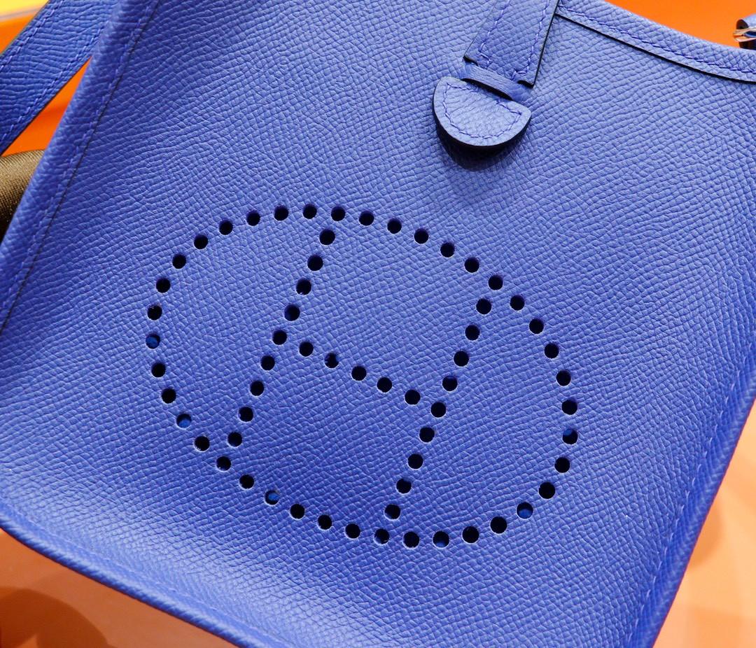 Hermès(爱马仕)Evelyne 伊芙琳 电光蓝 Epsom 全手缝 银扣 17cm