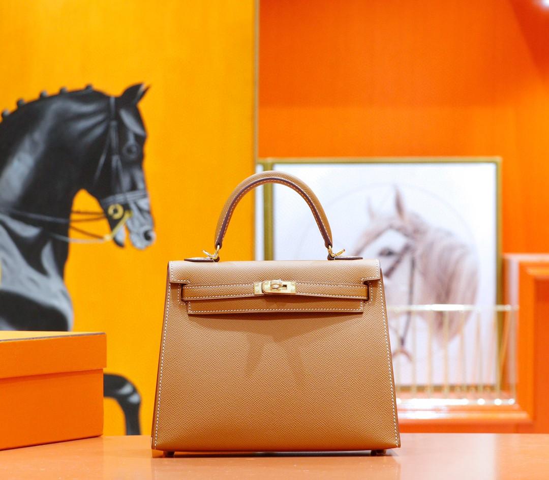 Hermès(爱马仕)Kelly 凯莉包 金棕 Epsom 全手缝 金扣 25cm