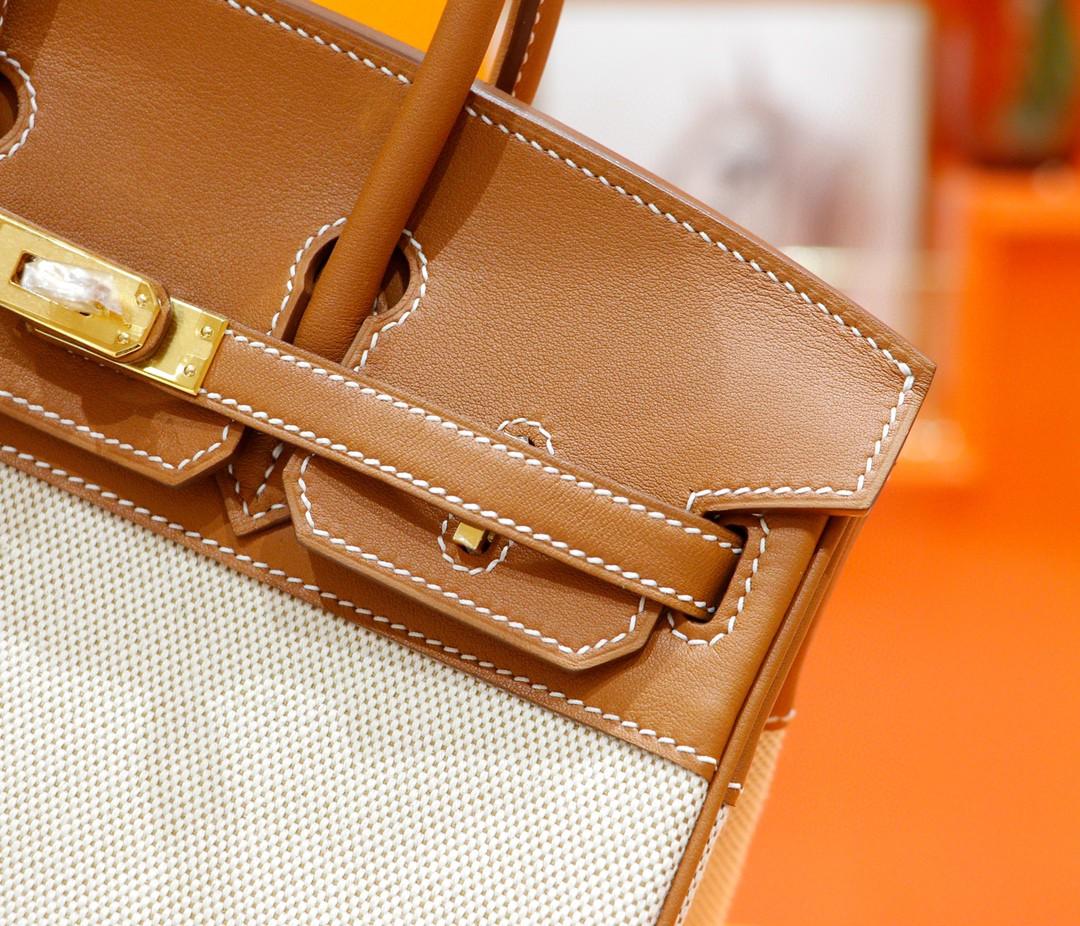 Hermès(爱马仕)Birkin 金棕 Swift 拼 原版帆布 金扣 全手缝 25cm